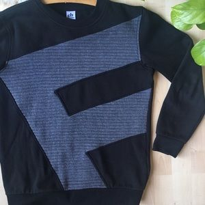 FUBU Crewneck Sweatshirt Grey Ribbed Black S